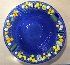 Transparent blue bowl