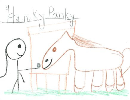 kids drawing of Hanky the horse