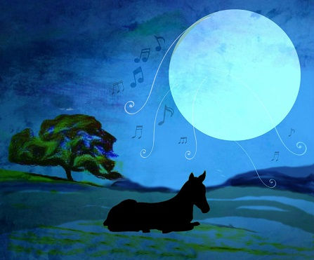 Illustration of a horse lying under the singing moon