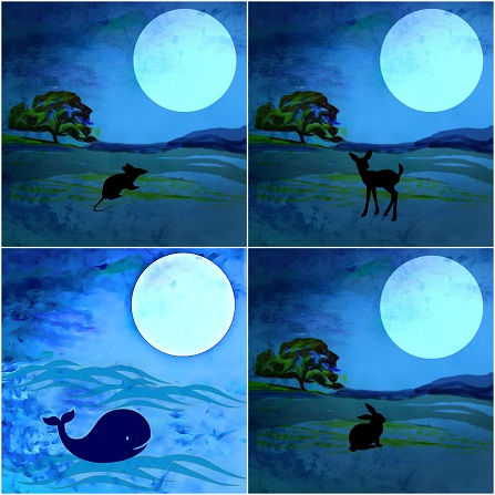 Collage of animals under the moon