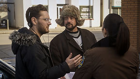 Lowell on set discussion with Amy Matysio and Kevin Smith