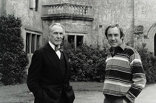 Pete Walker onset with Vincent Price in House of the Long Shadows