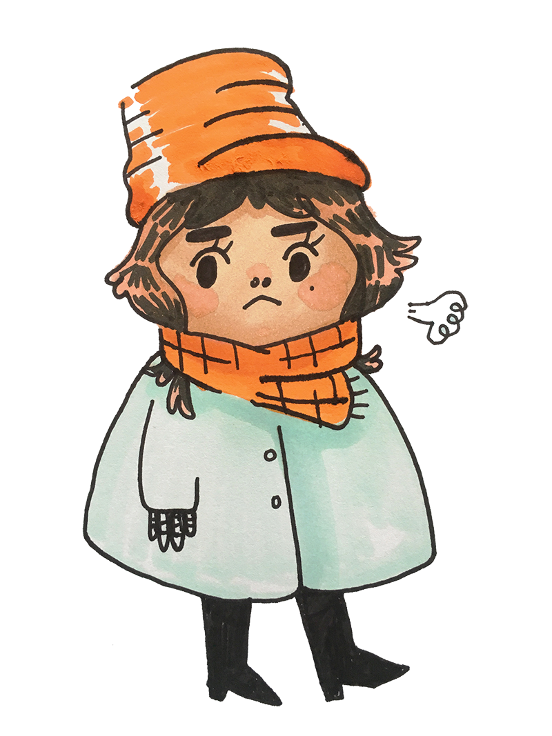 self portrait in winter coat