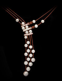 Freshwater Pearl Necklace on Greek Leather