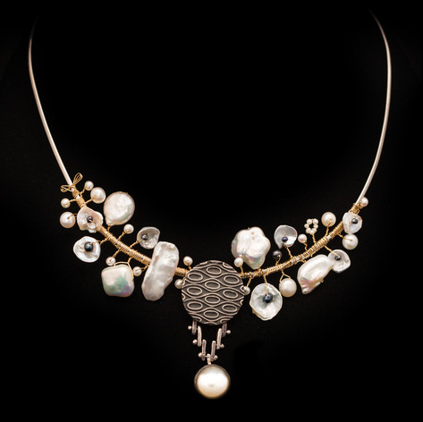 Ornate Sterling Silver Collar with Freshwater Pearls