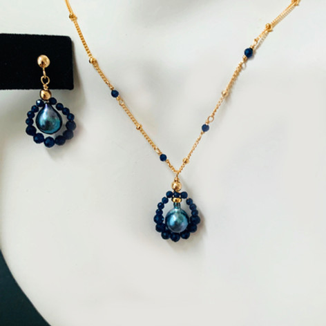 Tahitian Pearl and Sapphire Necklace & Earrings