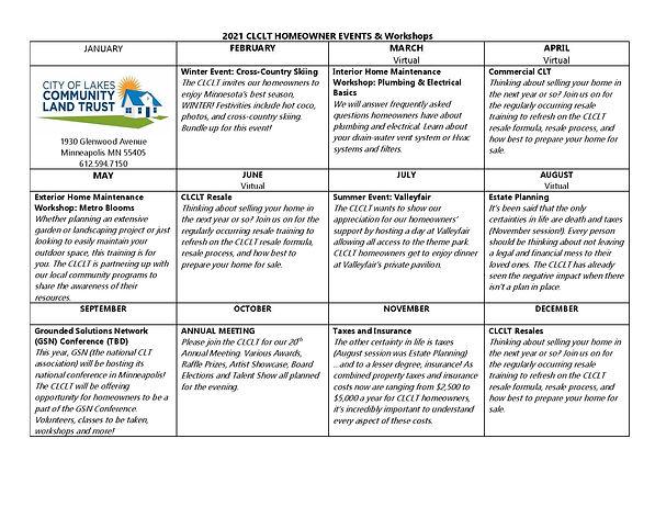 2021 Homeowner Events & Workshops Calend
