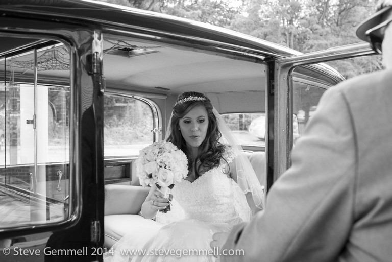 bride arraiving Surrey Wedding Photography by Steve Gemmell