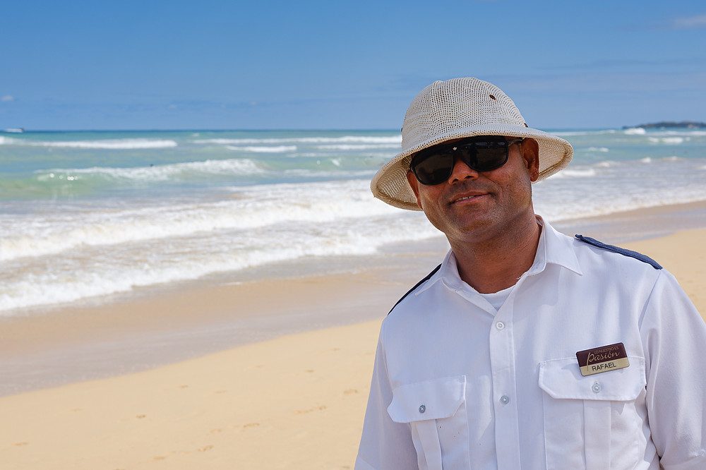 Rafael security guard on beach in Punta Cana