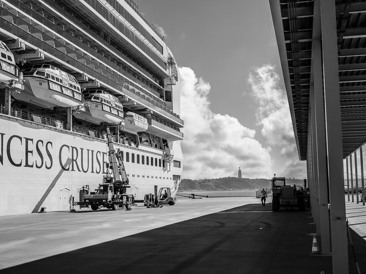 Cruise ship loading up in Lisbon Portugal