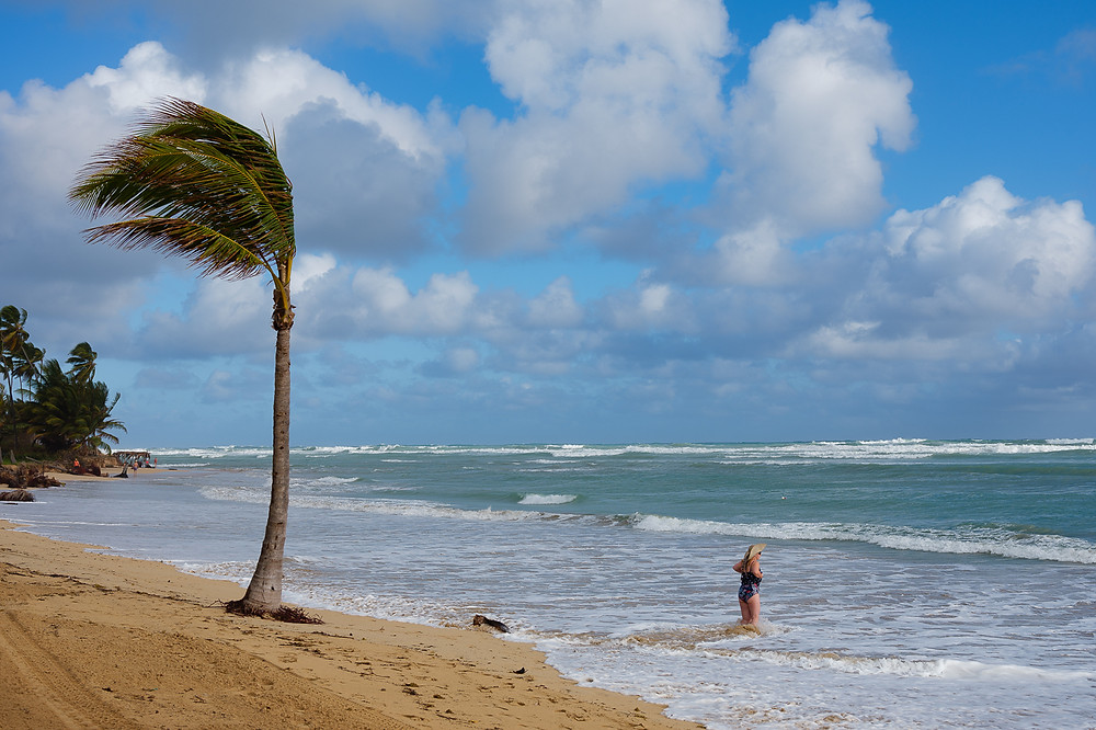 Windy day by the sea in Punta Cana