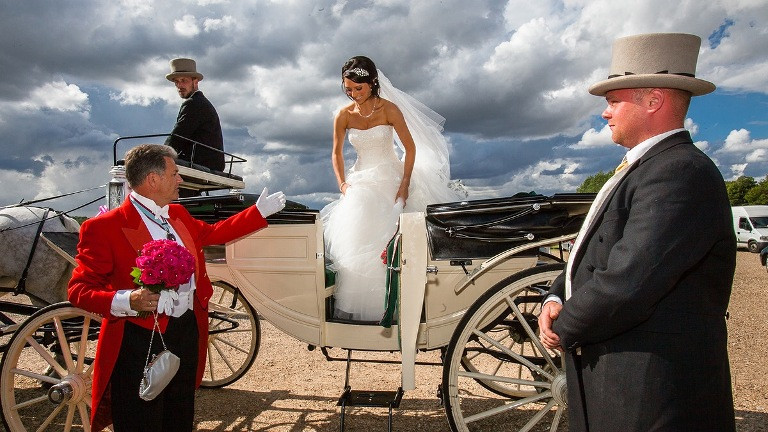 Bride arrive at Knebworth House