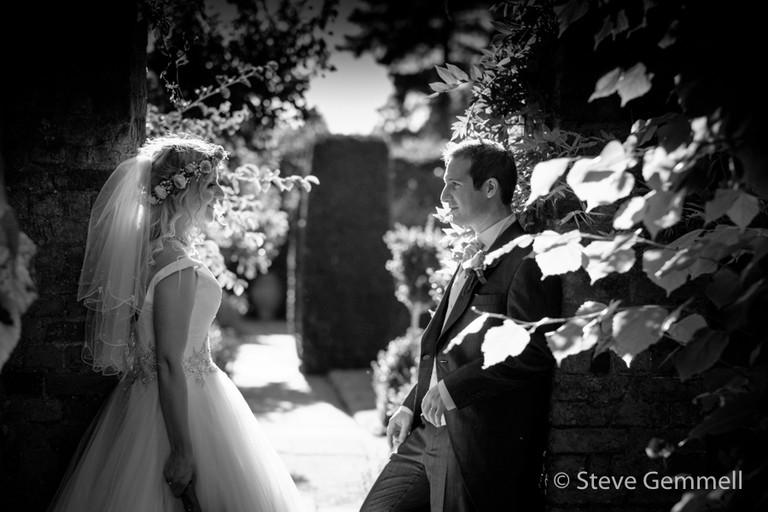 Bride & Groom in gardens by Hatfield House Wedding Photographer Steve Gemmell