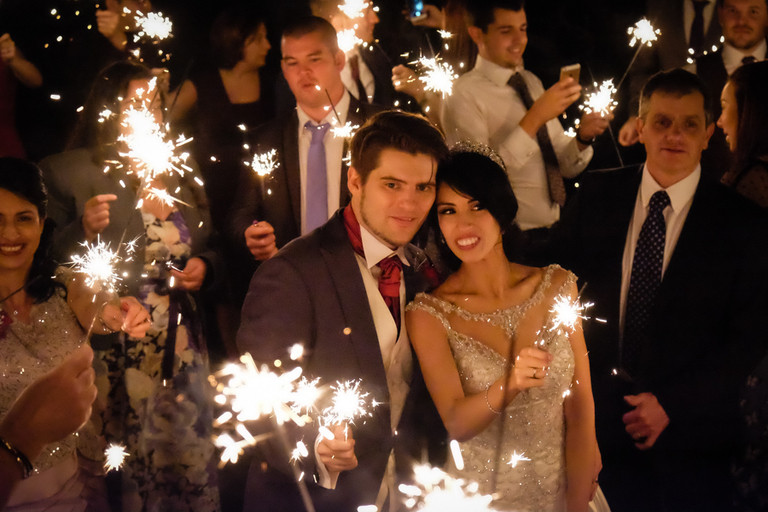 sparklers at great fosters christmas wedding