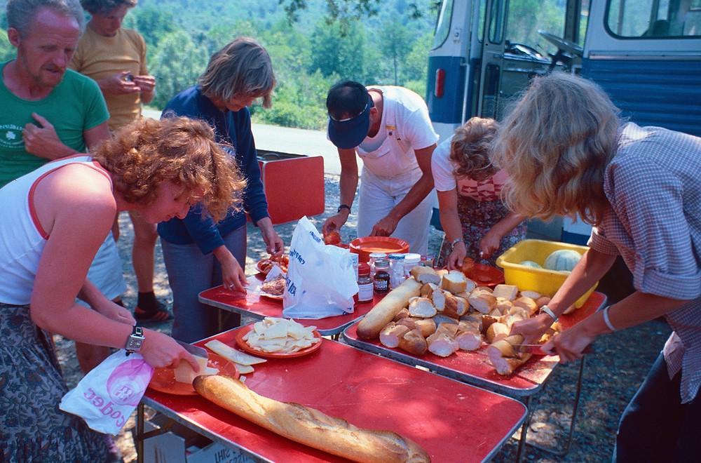 Campers preparing the food