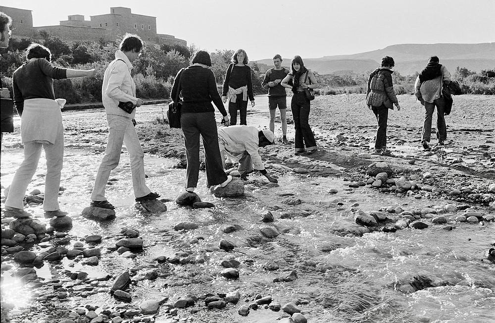 Crossing river Aït Benhaddou Morocco 1978