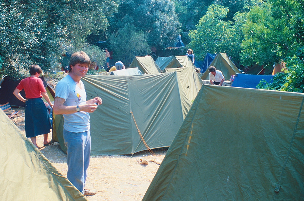 Setting up the camping tents