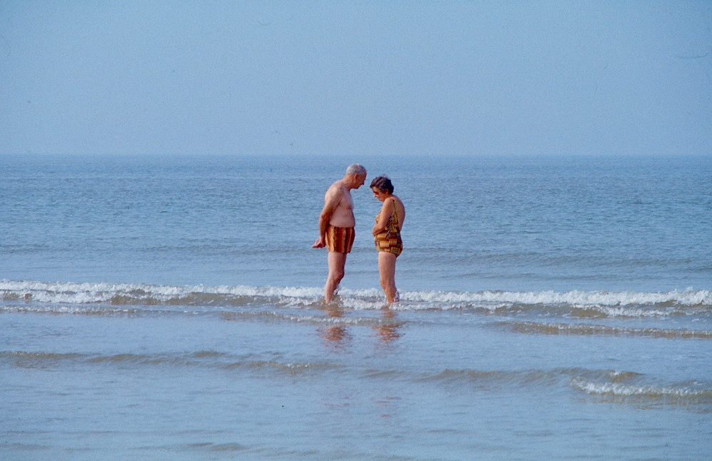 Couple standing in sea