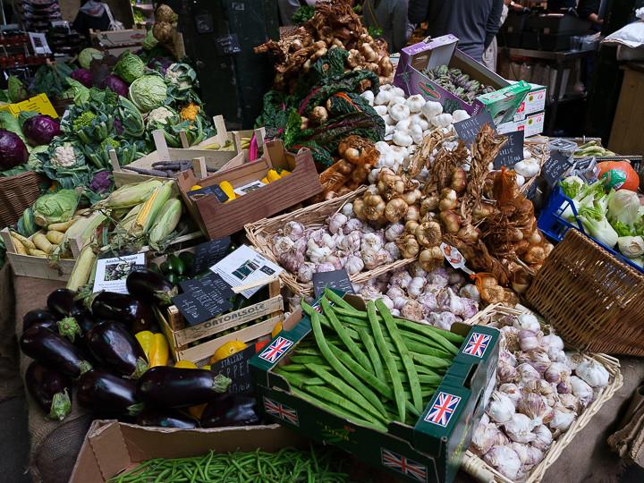 Produce on Borough Market stall London