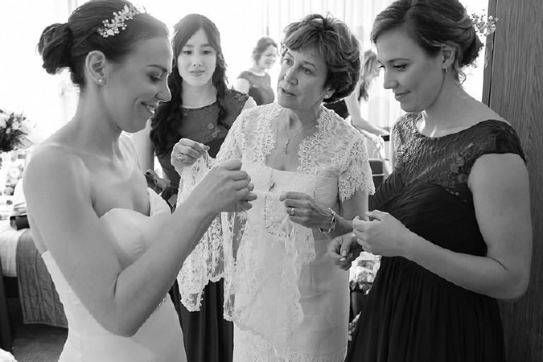 Bride prep for Humanist Wedding at Knebworth