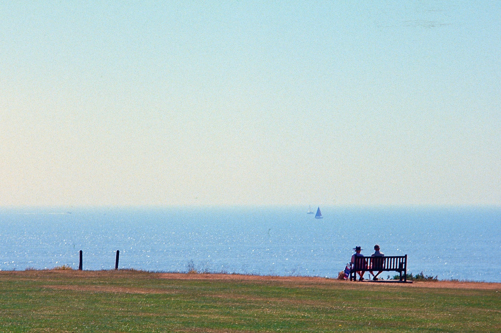 Couple on bench at seaside