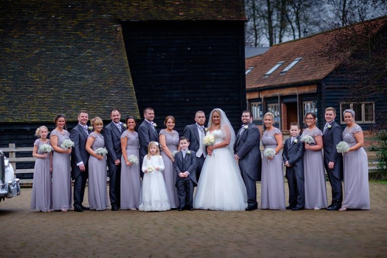 Group shot at Tewinbury Farm Wedding