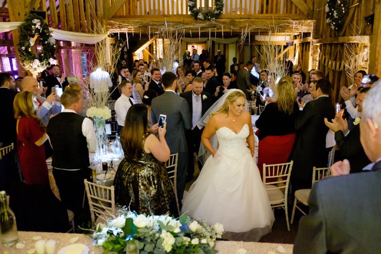 Bride's entrance at Tewinbury Farm Wedding