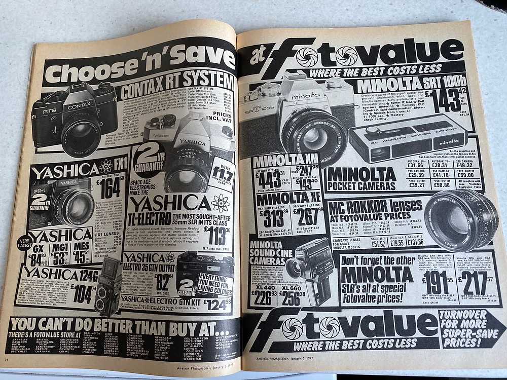 Camera advertisements in Amateur Photographer magazine 1977