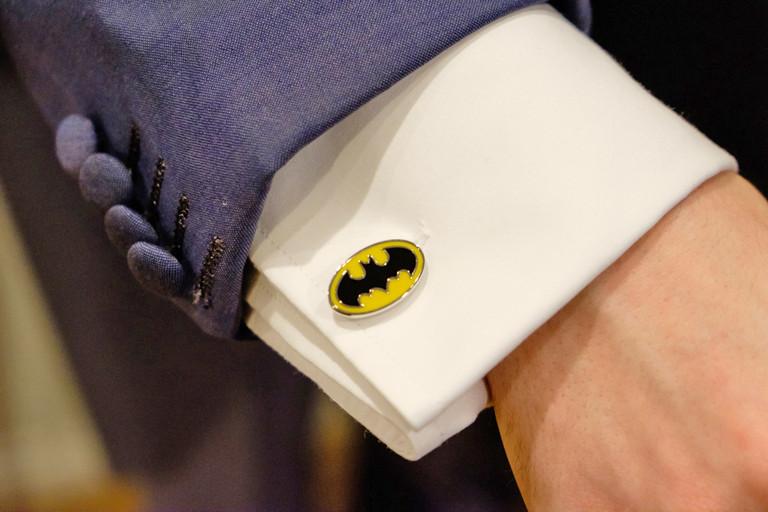 batman cufflinks at christmas wedding