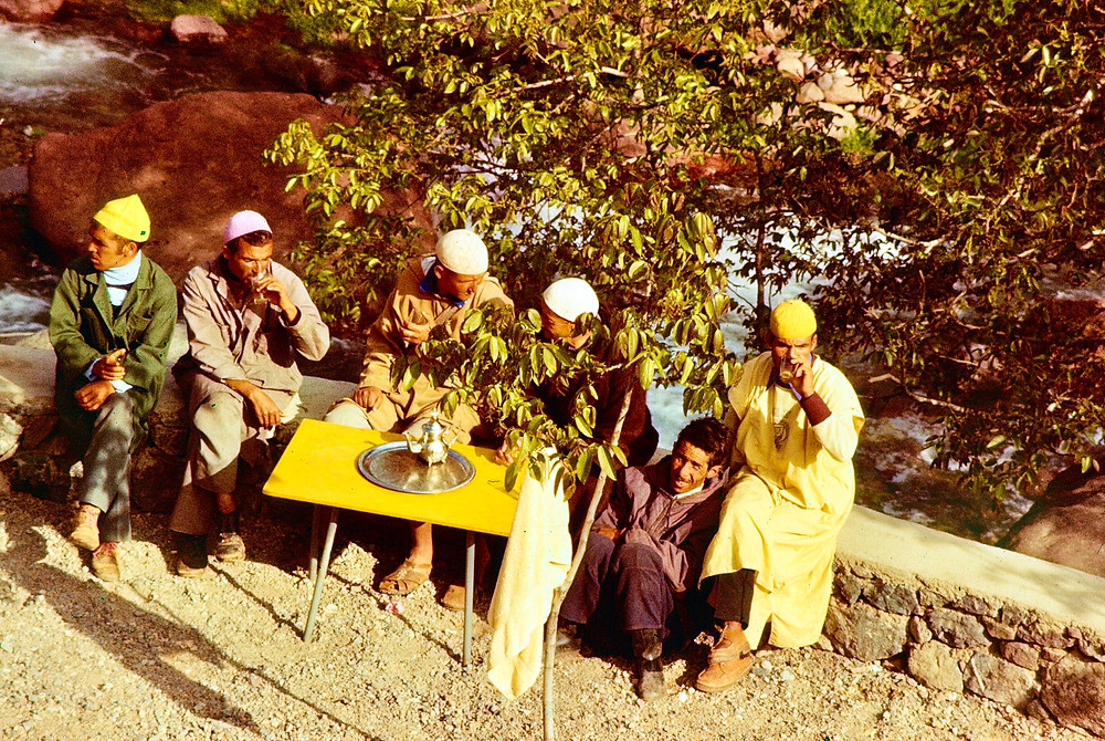 Moroccans drinking tea 1978