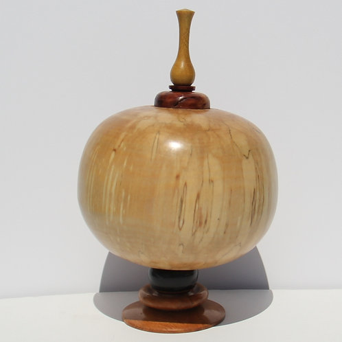 #27 Threaded Top Urn with Spalted Birch Body and Boxwood Finial #7