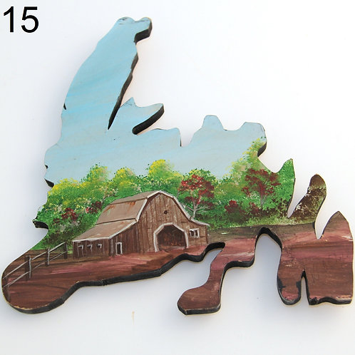 #06 Painted Wooden Newfoundland Maps