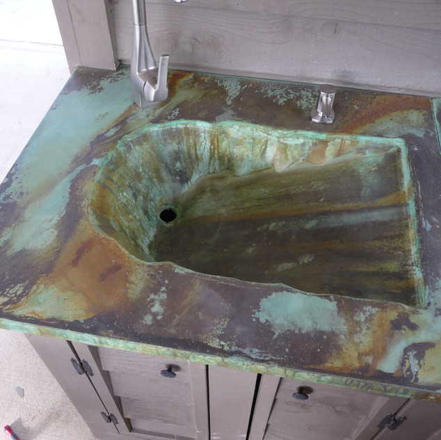 Stained Custom Concrete Sink