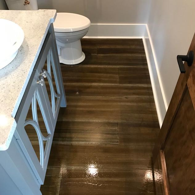 Wood look stained floor