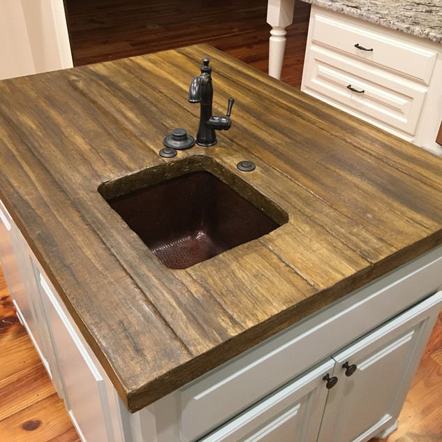 Wood-Stained Look Concrete Countertop