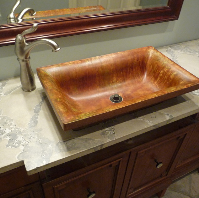 Concrete Countertop with Concrete Sink on top