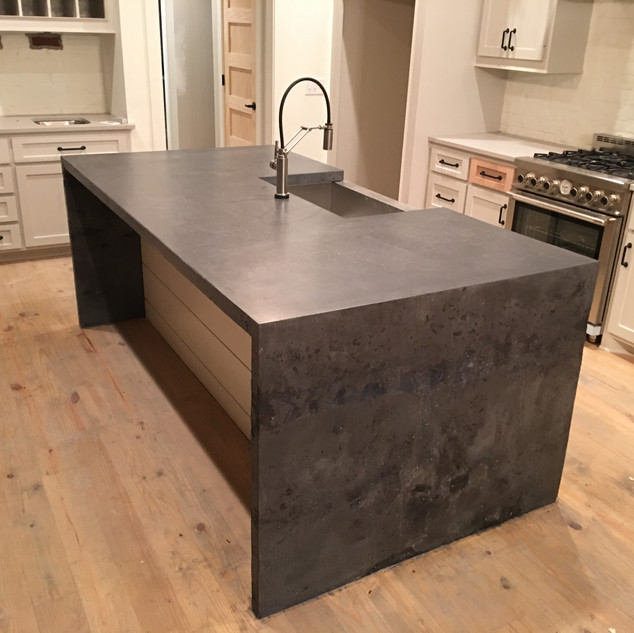 Concrete Countertop with Waterfall
