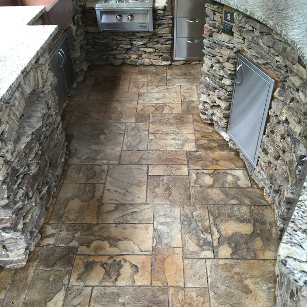 Stamped Floors in Outside Kitchen