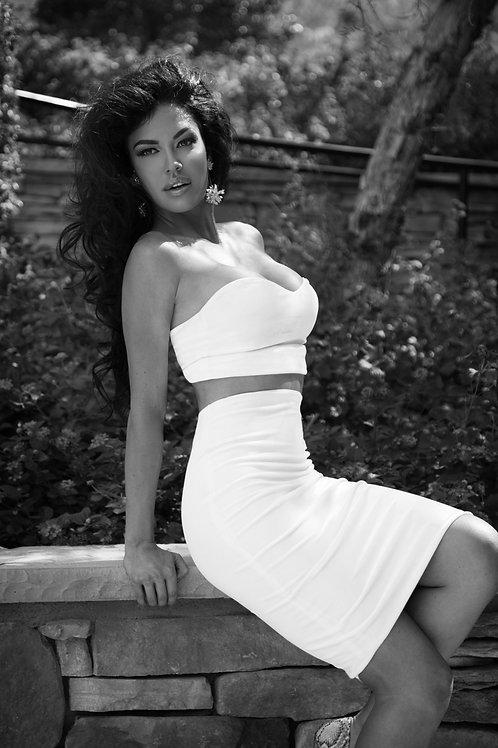 2 Piece White Crop with High Waist Skirt