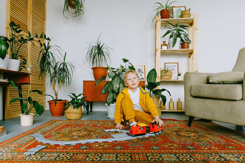 A boy sitting on a carpet in the living room surrounded by toys and plants