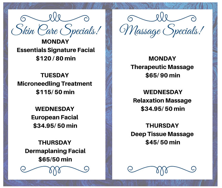 Massage & Facials Weekly Speicals. The Home Of Affordabled Luxury!