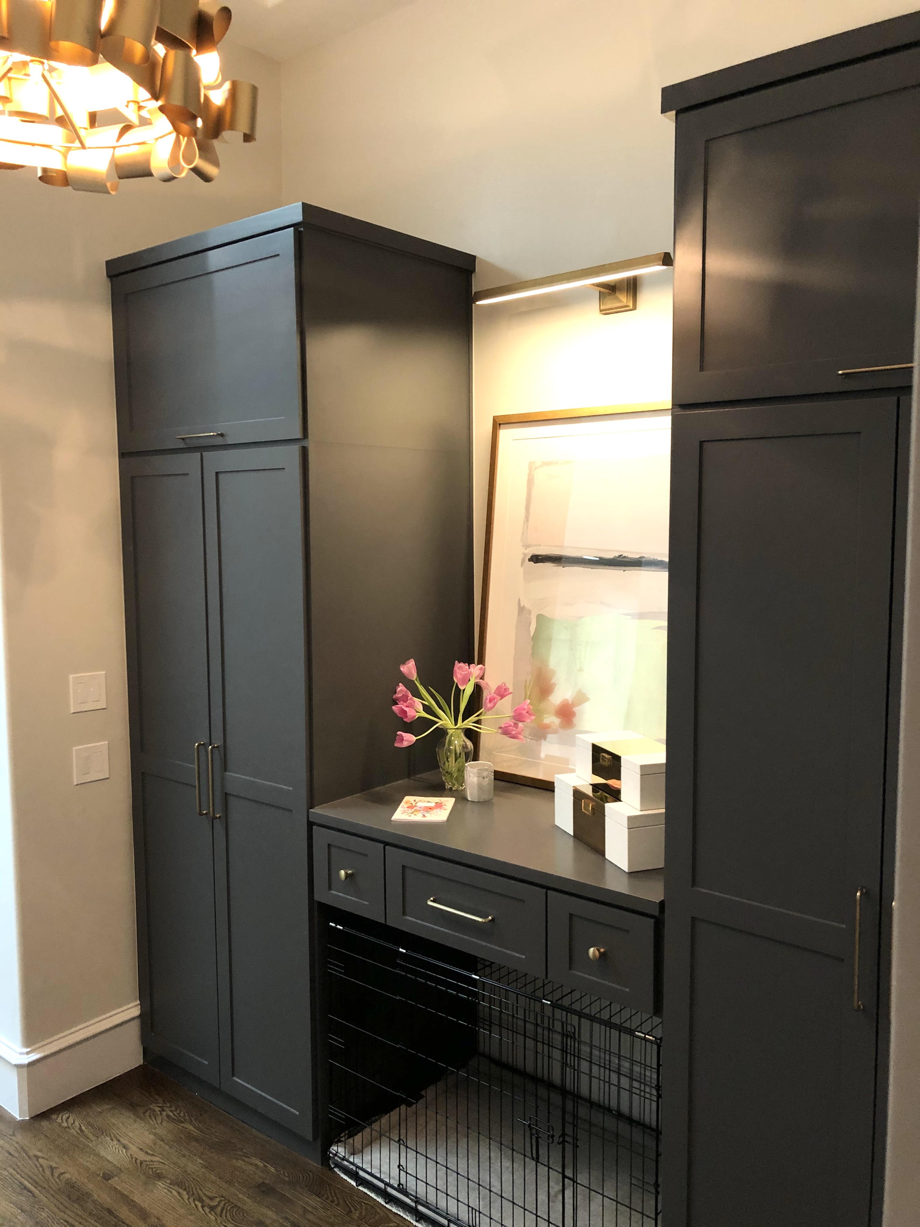 Built in dog kennel cabinet
