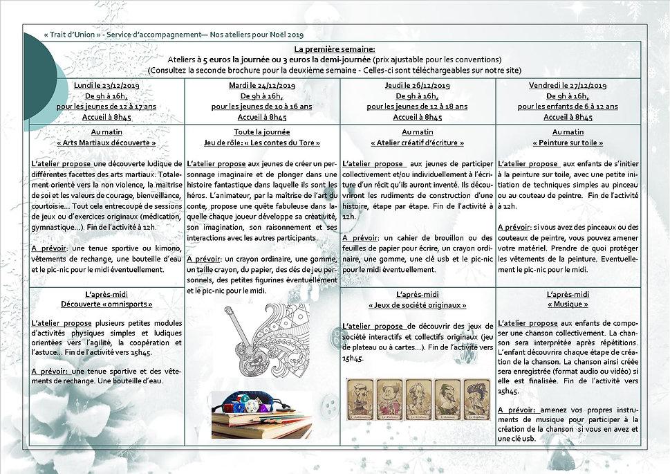 Trait d'Union Ateliers Noel 2019 1ere se
