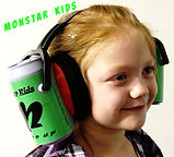 Monster Truck Hearing Protection Ear Muffs Kids Soda Cans on the ears