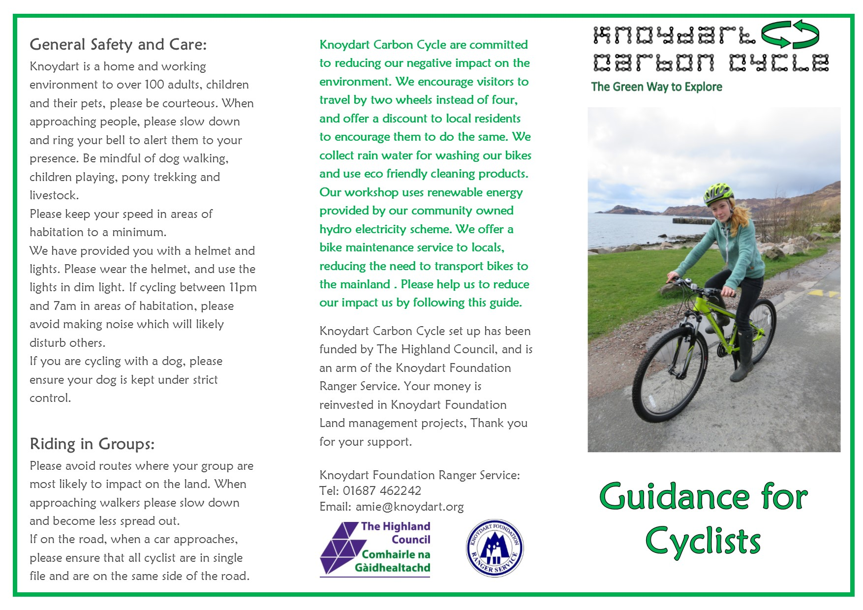 Guidance notes for Cyclist leaflet