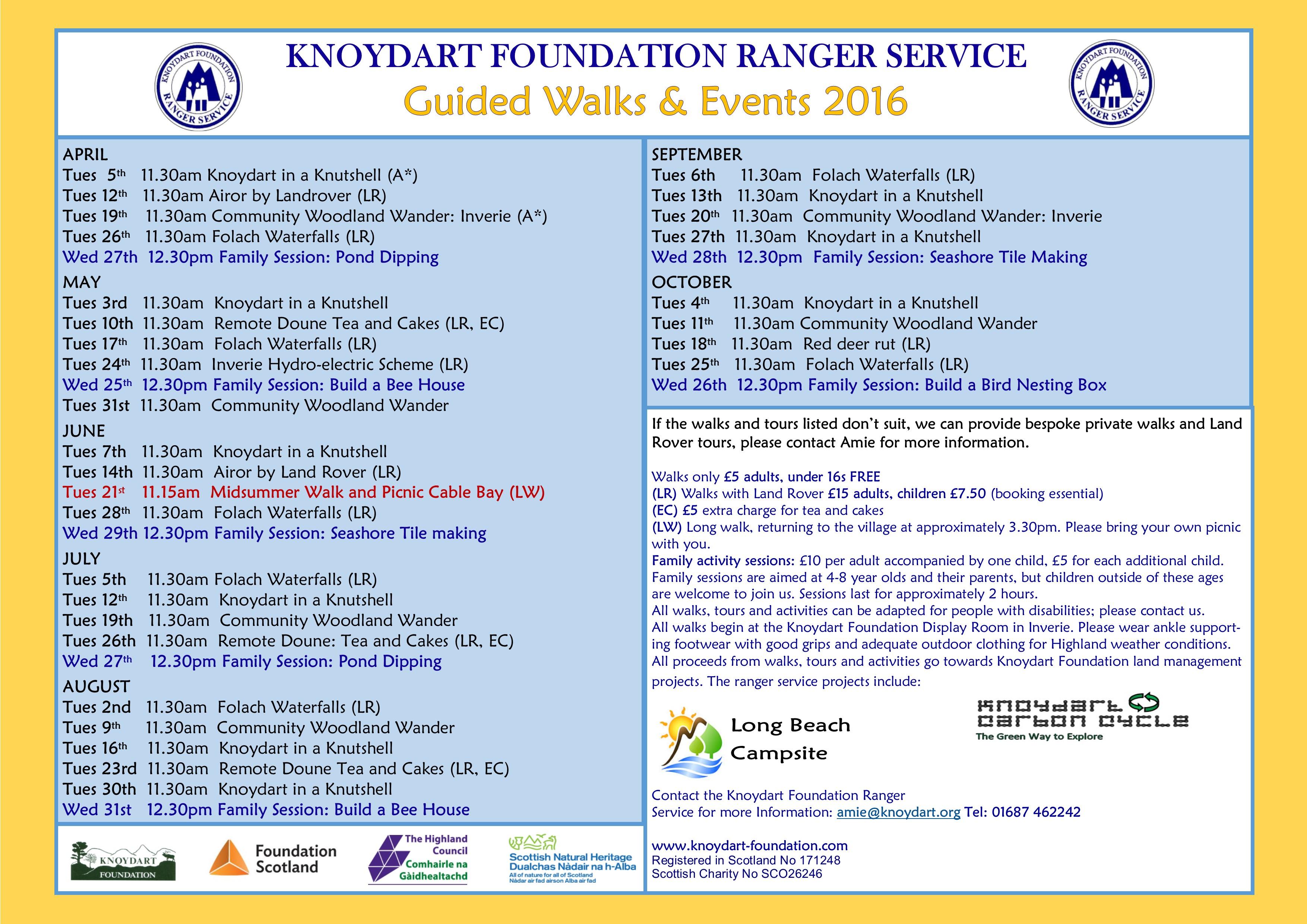 2016 Ranger Timetable