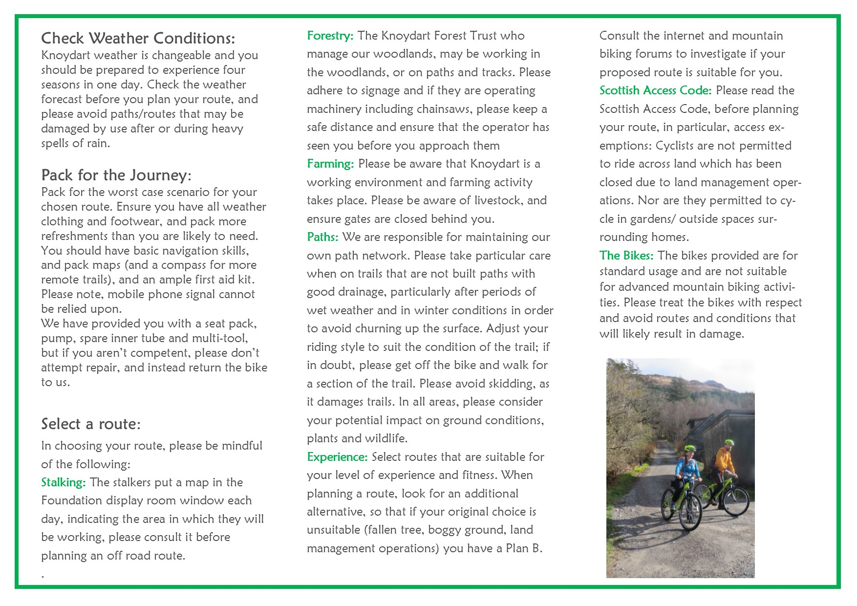 Guidance notes for Cyclist leaflet pg 2