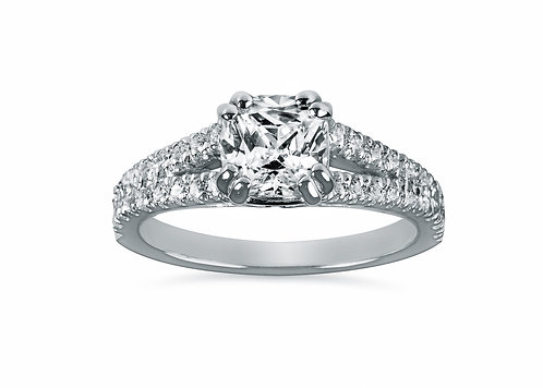 Platinum - Split Shank Cushion Cut Diamond Engagement Ring
