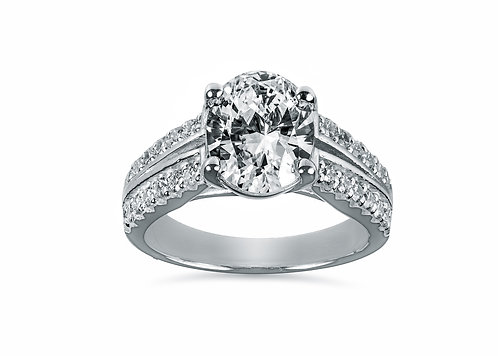 Split Shank Oval Diamond Engagement Ring