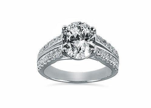 Platinum - Split Shank Oval Diamond Engagement Ring